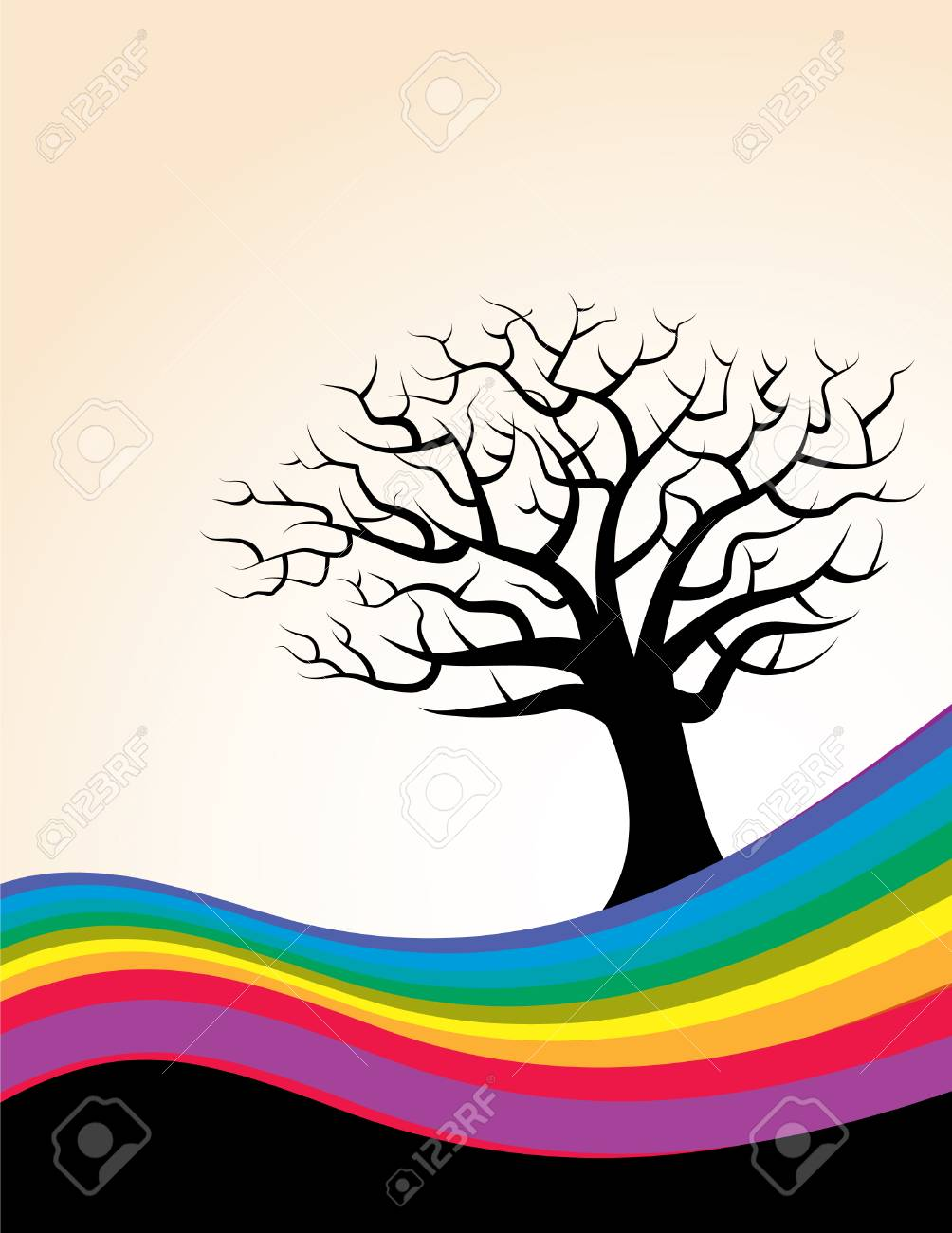 A colorful rainbow with a vector tree Stock Vector - 4063055