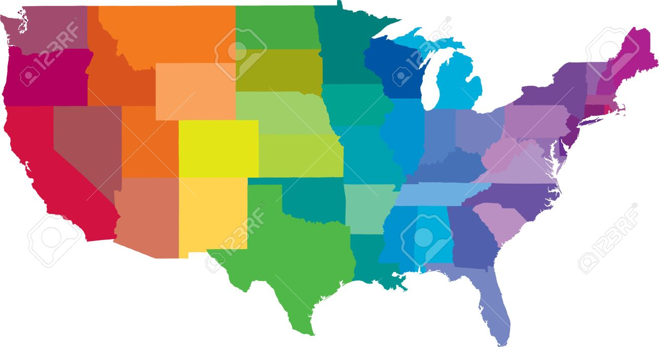 United States of America in colors of the rainbow as a vector..