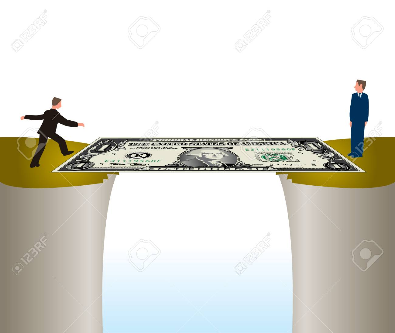 Two men using money to form a partnership by crossing a Dollar Bridge Stock Vector - 4063079