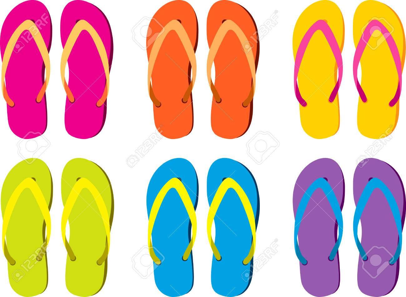 de16b7550c4 six pairs of colorful flip flops Stock Vector - 4063048