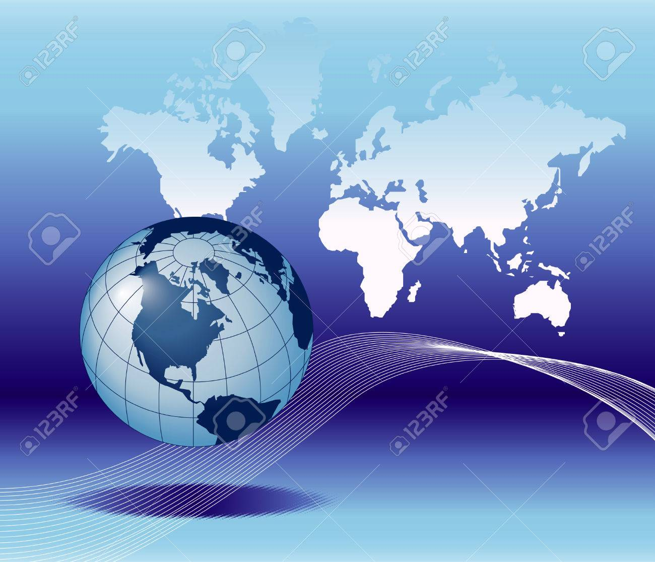Background image e - Illustration Of The Globe On Earth Map Background With E Mail Symbol Stock Vector