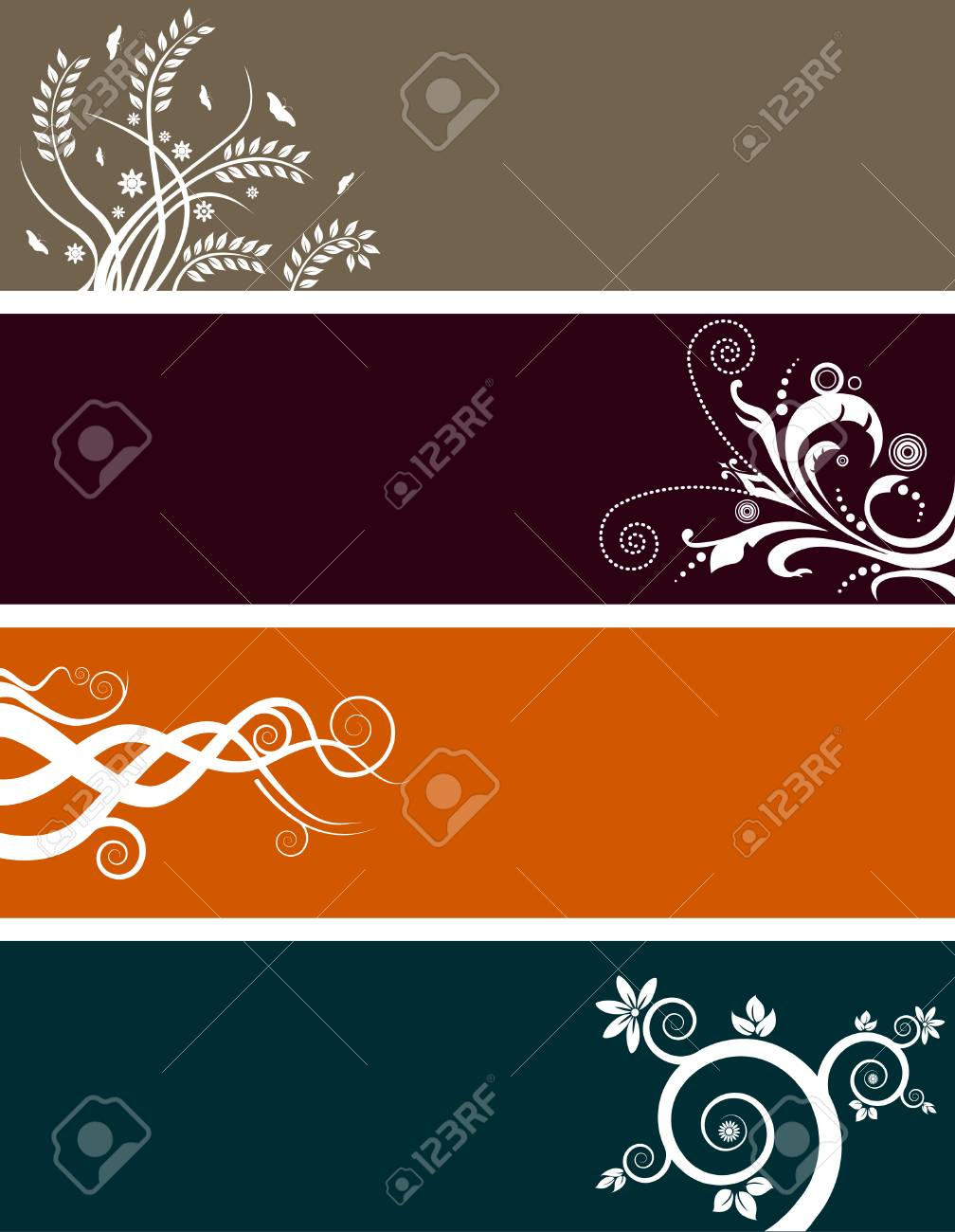 An array of abstract floral web banners in assorted colors Stock Vector - 4116736