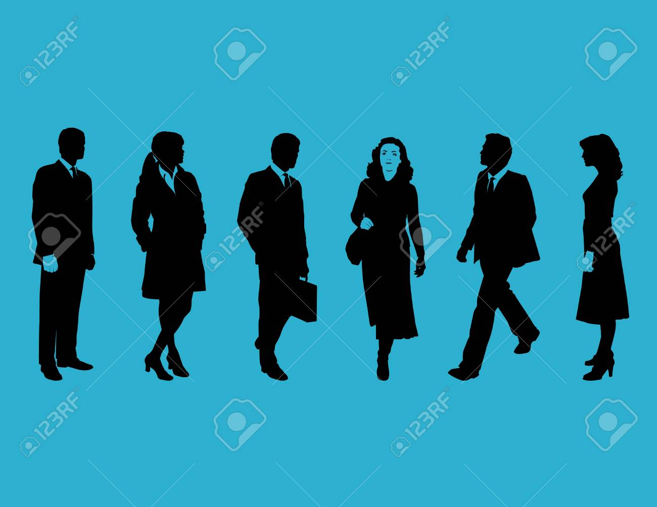 Business people silhouettes Stock Vector - 4198030