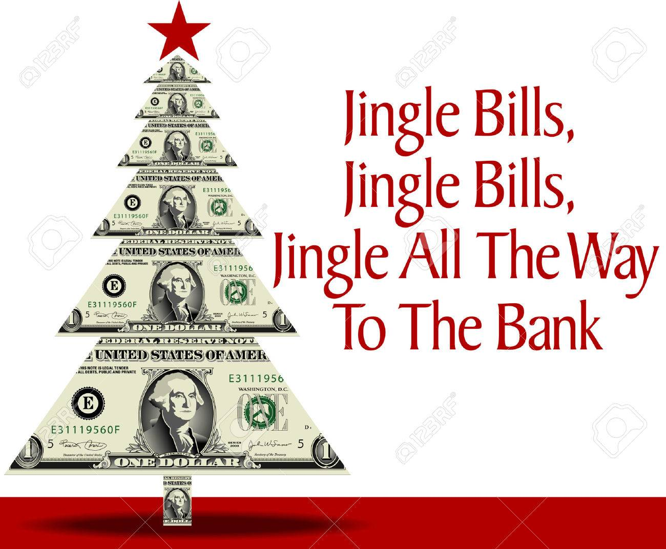 Christmas Tree Bill.A Christmas Tree Made Of Dollar Bills With A Clever Pun As Well