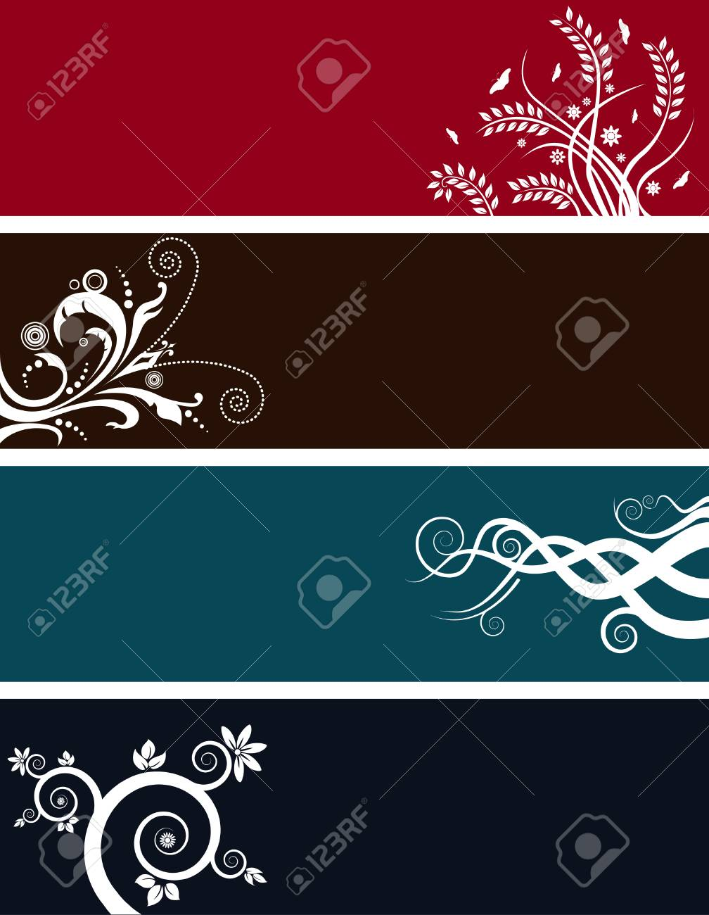 An array of abstract floral web banners in assorted colors Stock Vector - 4428240