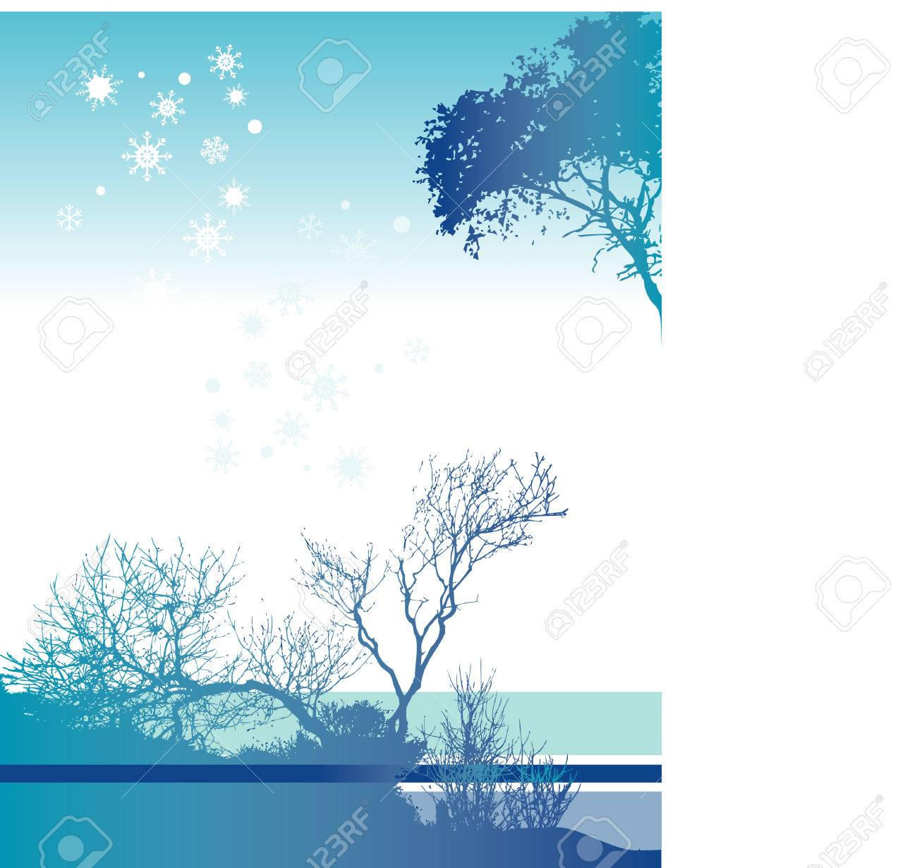 An interesting blue and white Christmas landscape with snow flakes Stock Vector - 4437340