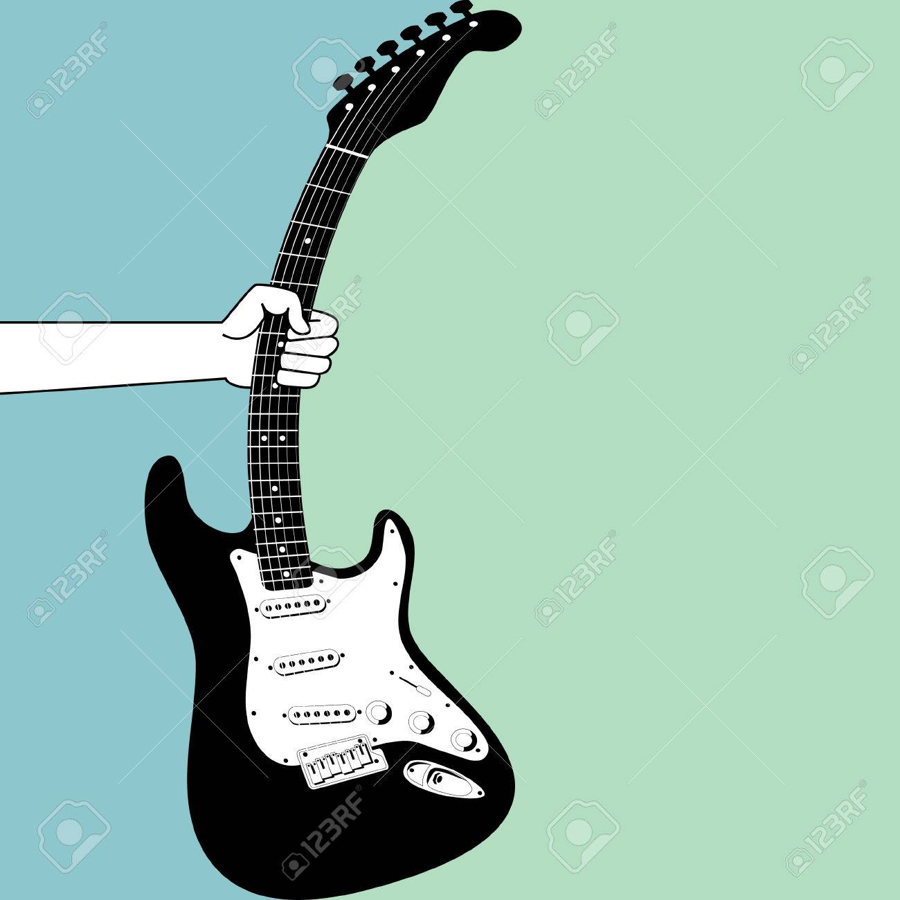 A hand grabs an electric guitar Stock Vector - 4437358
