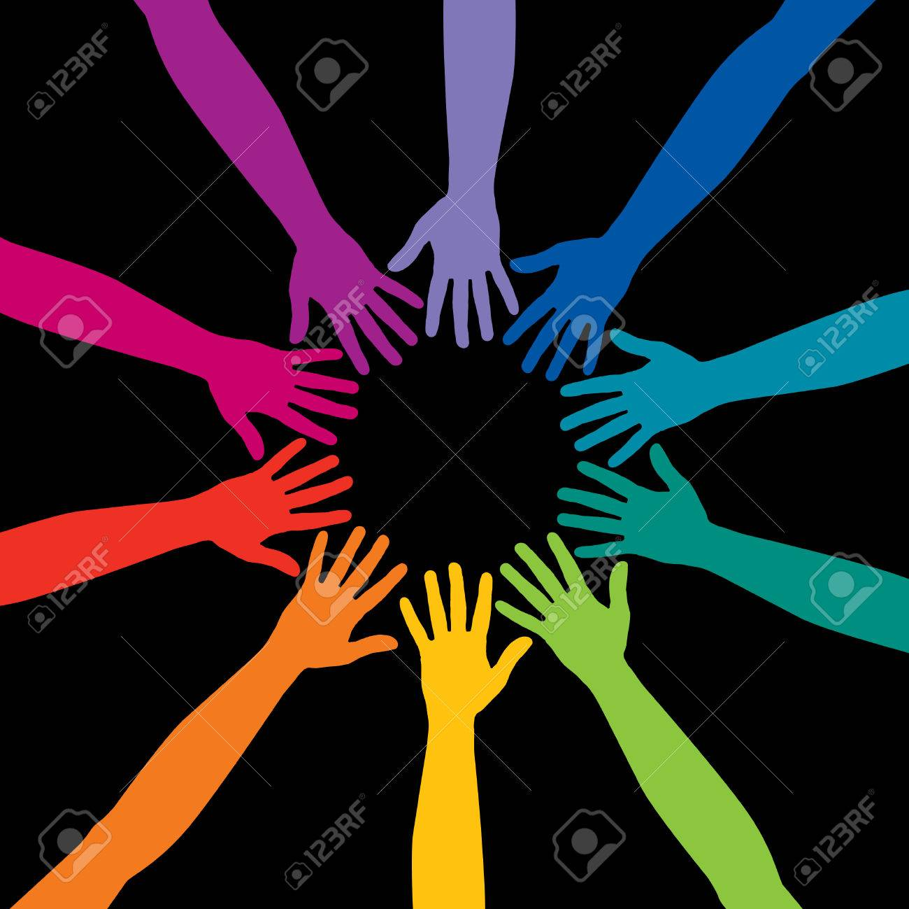A diverse circle of hands background, in vector format Stock Vector - 4437502