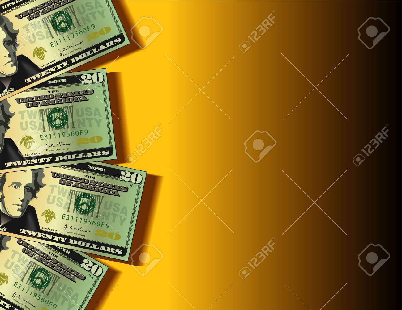 A vector background showing four twenty dollar bills with space for text Stock Vector - 4536964