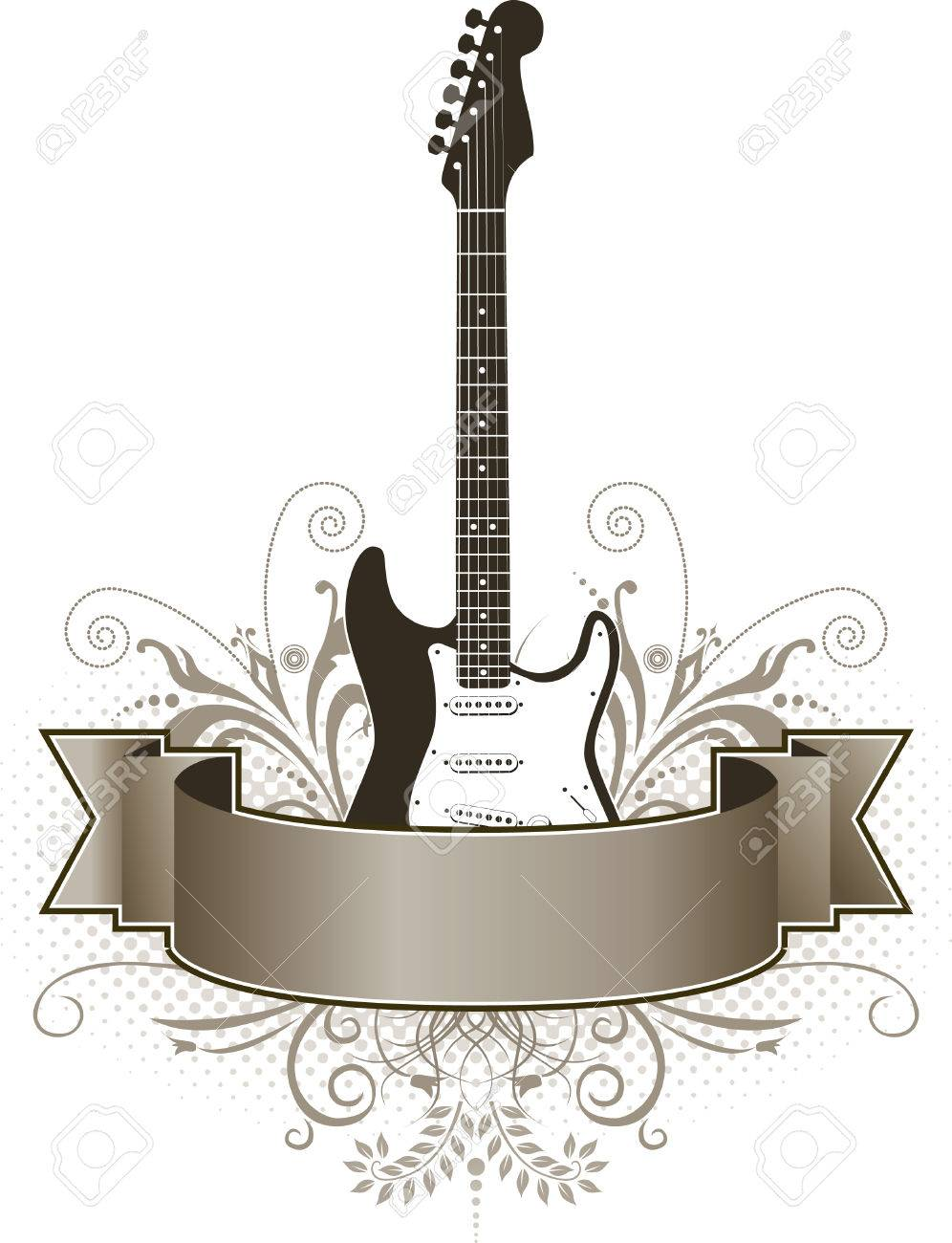 A funky, grunge guitar banner with space for text Stock Vector - 4616900