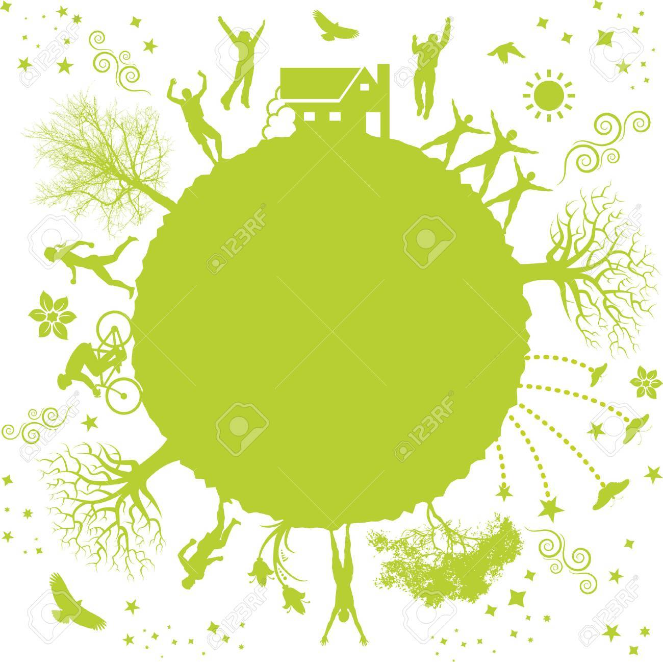 A funky vector illustration of a green planet Stock Vector - 4638822