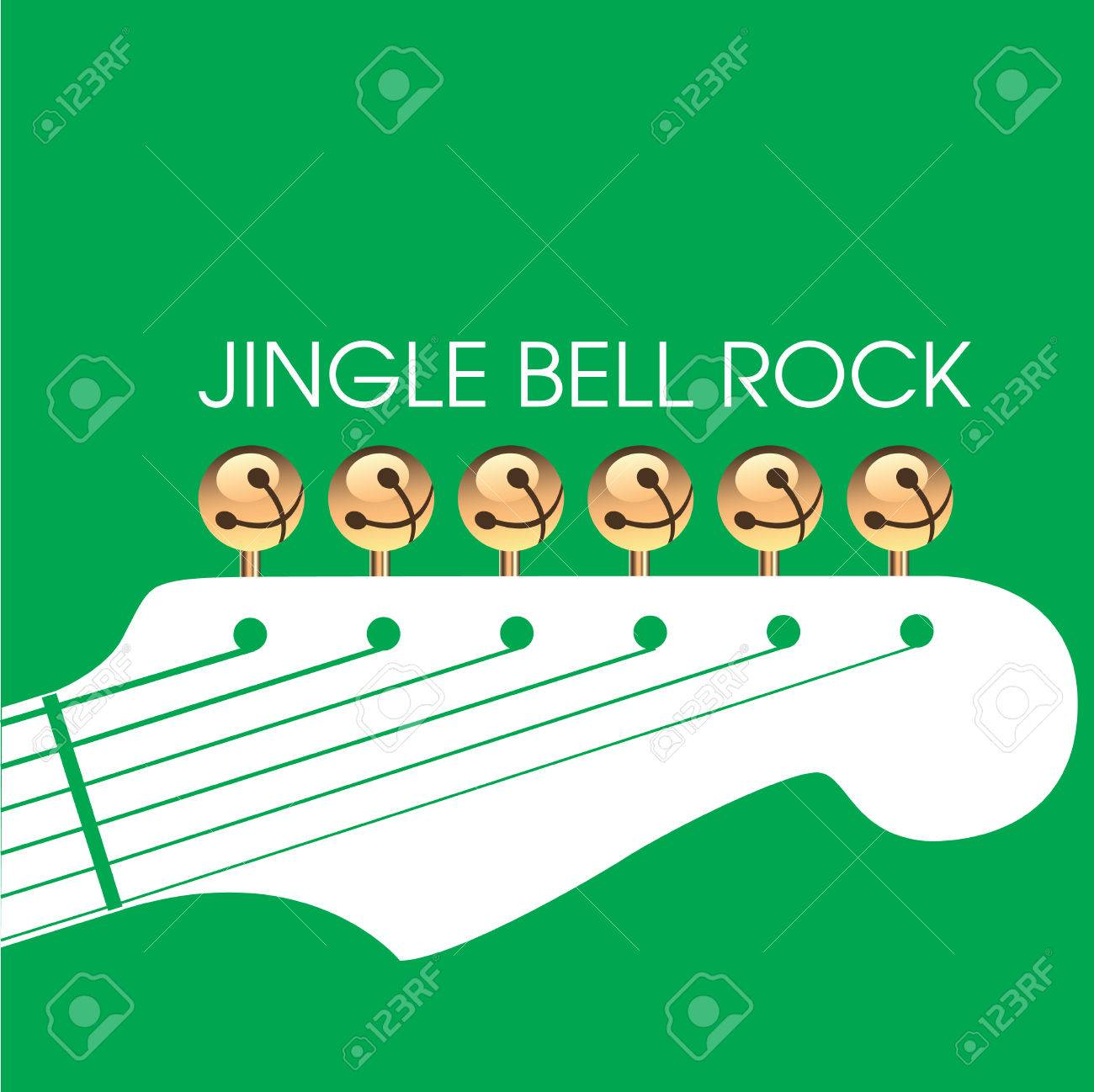 graphic of bells on guitar to illustrate jingle bell rock space for text could