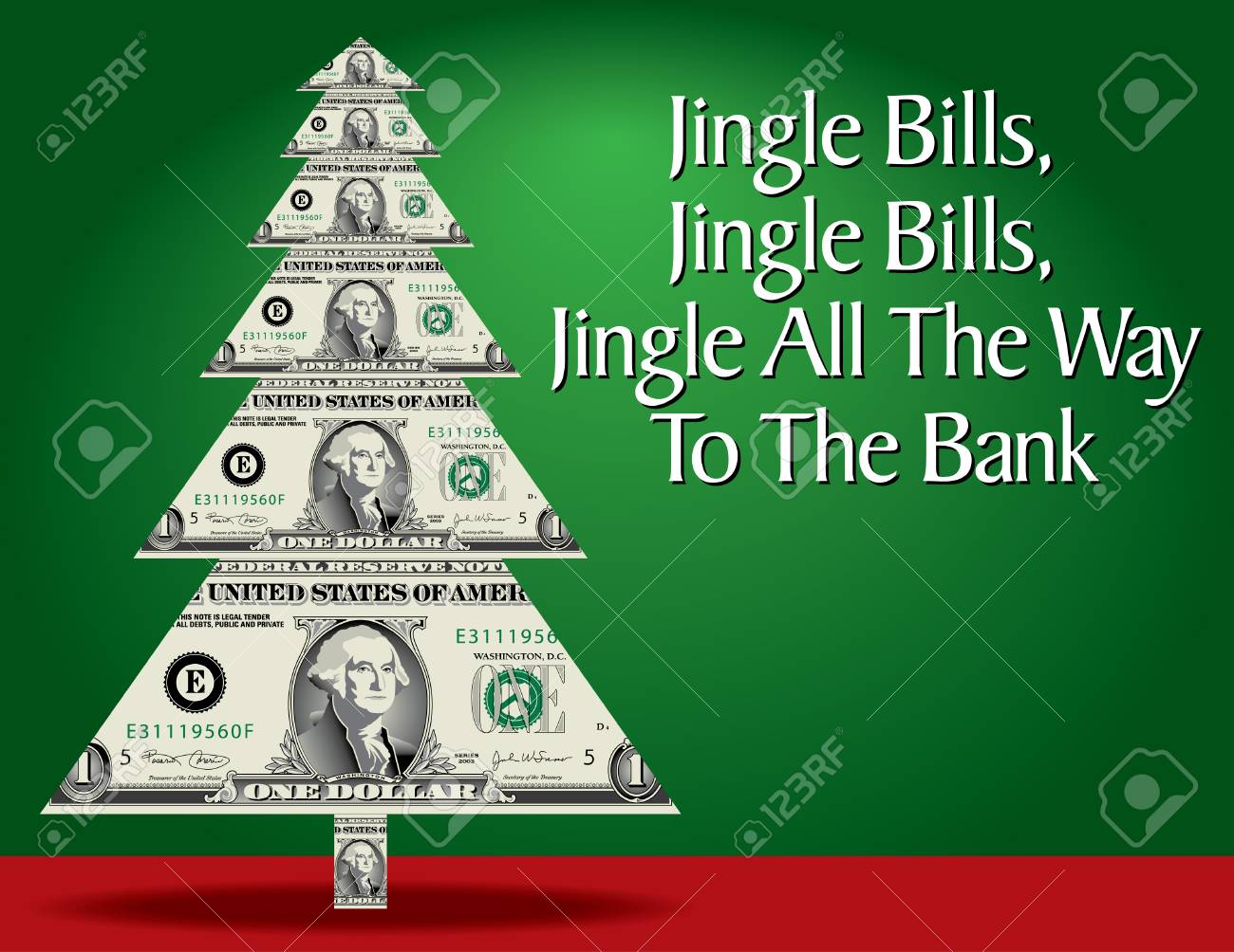 Christmas Tree Bill.Abstract Christmas Tree With Dollar Bills Instead Of Branches
