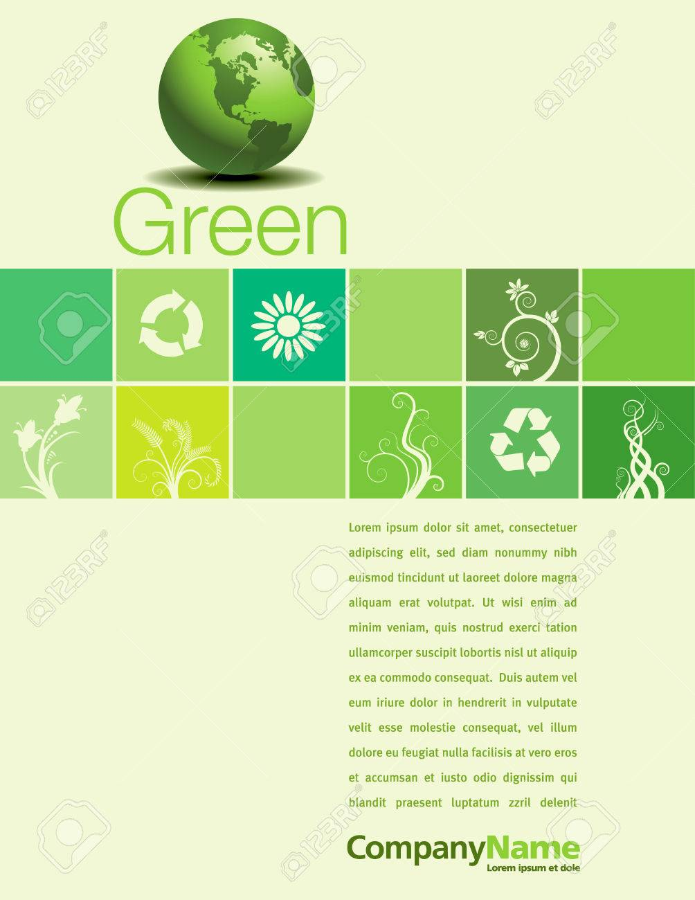A vector background page design with a green theme Stock Vector - 4855177