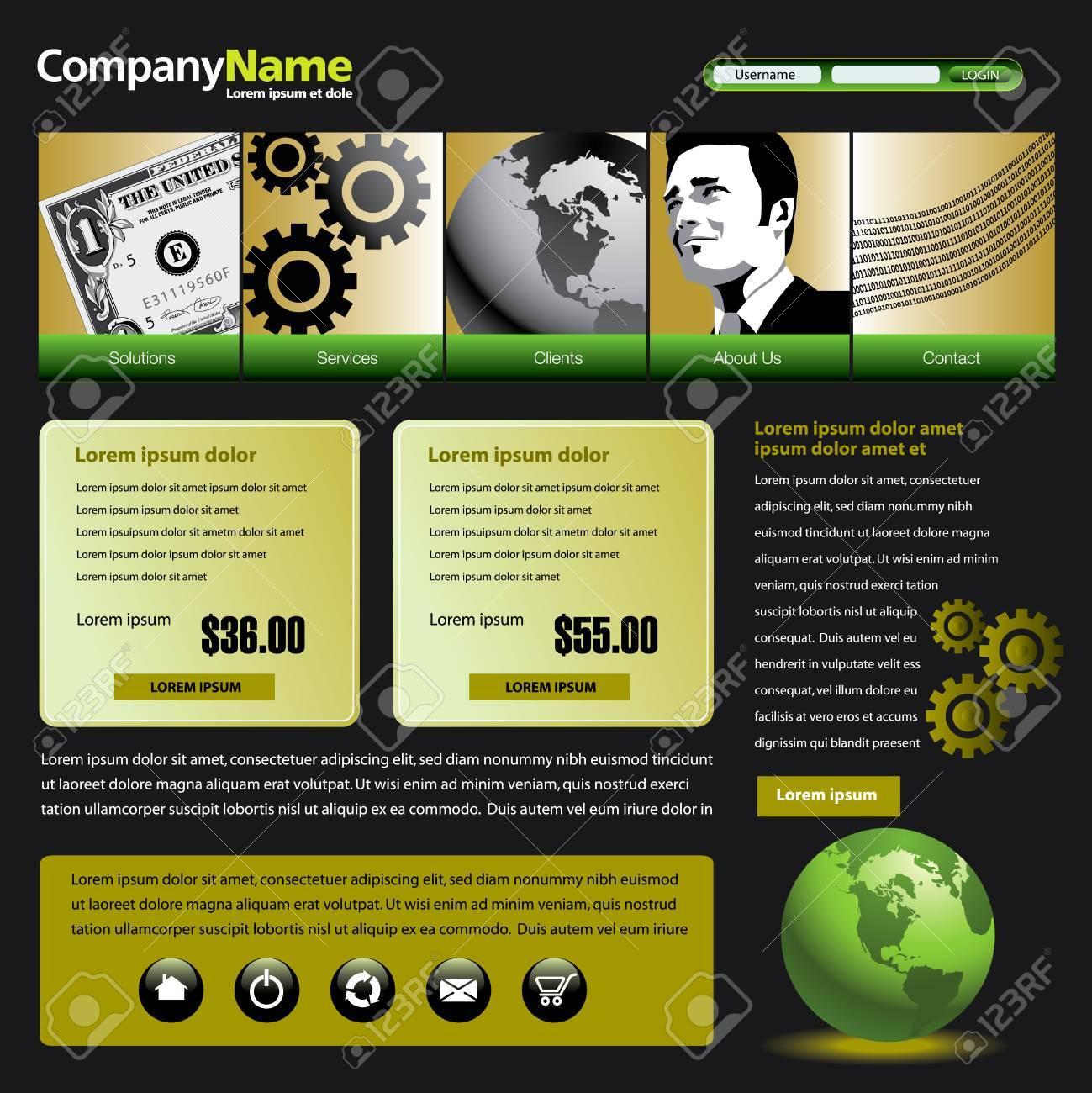 Vector web site design template with dollar, gears, globe & man Stock Vector - 4946802