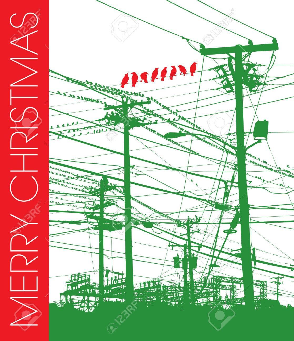 Acht Red Vögel Auf Eine Grüne Telefon-Draht-Hintergrund Mit Merry ...