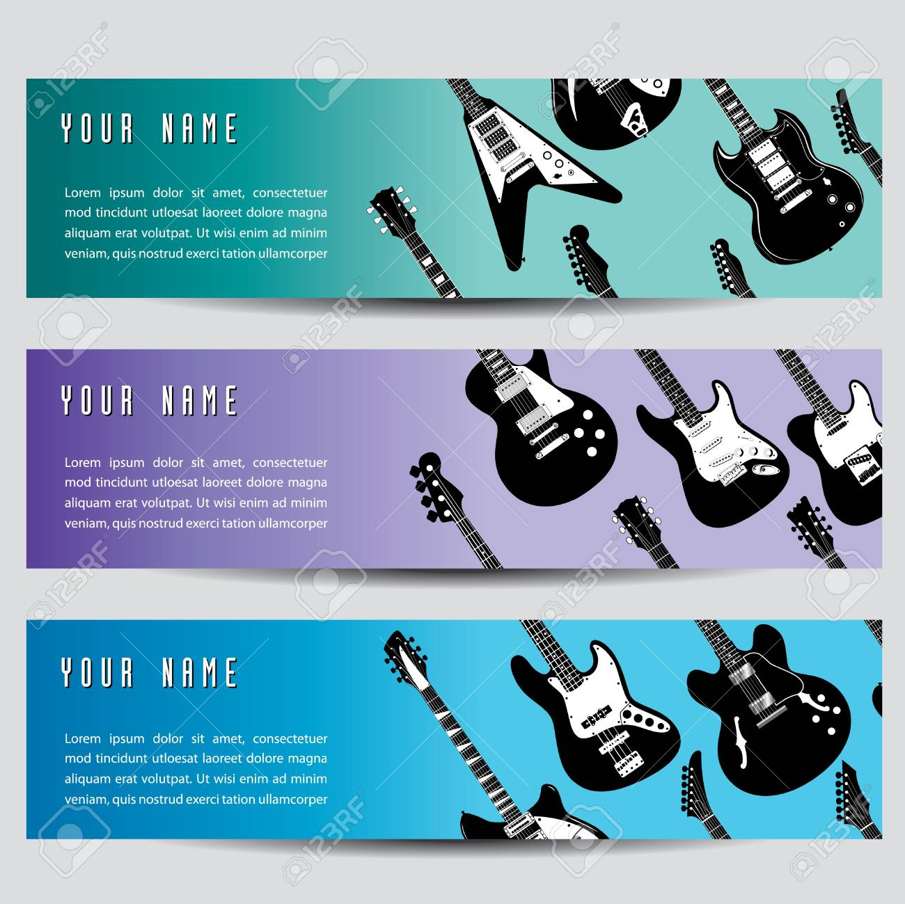 A set of three guitar banners Stock Vector - 15829519