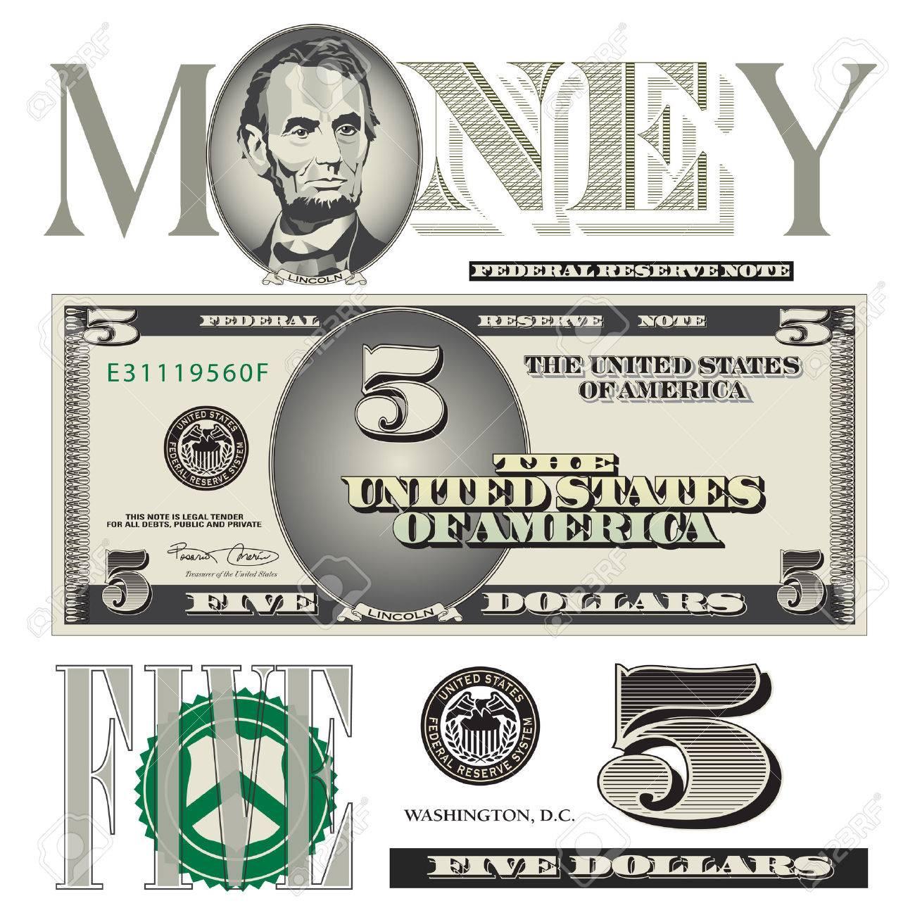 Sonstiges Fünf Dollar-Schein Elemente Lizenzfrei Nutzbare ...