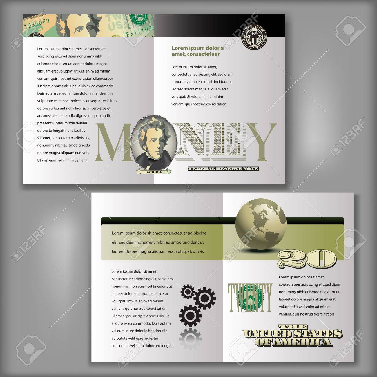 20 Dollar Bill Brochure Layout Template Royalty Free Cliparts