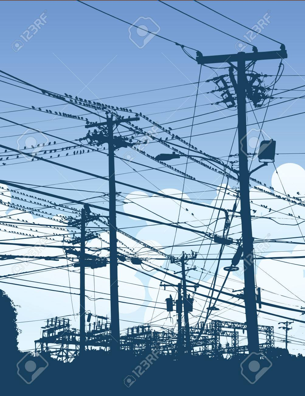 A Complex Maze Of Telephone Poles And Wires Royalty Free Cliparts ...