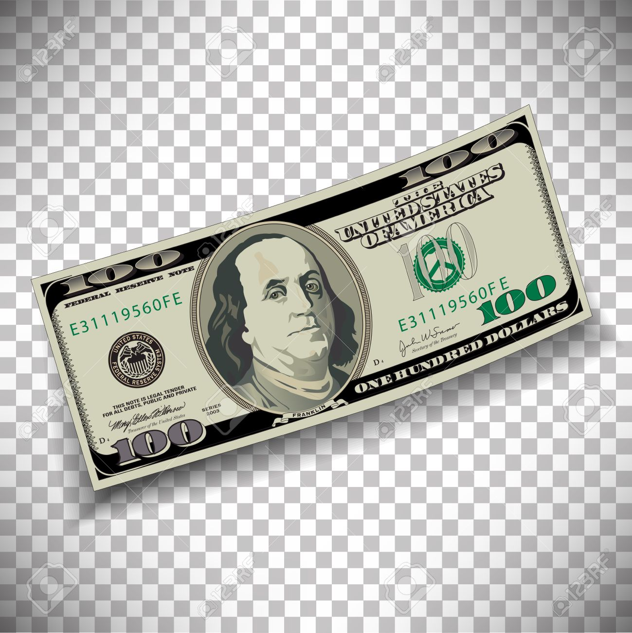 a 100 dollar bill on a transparent background royalty free cliparts