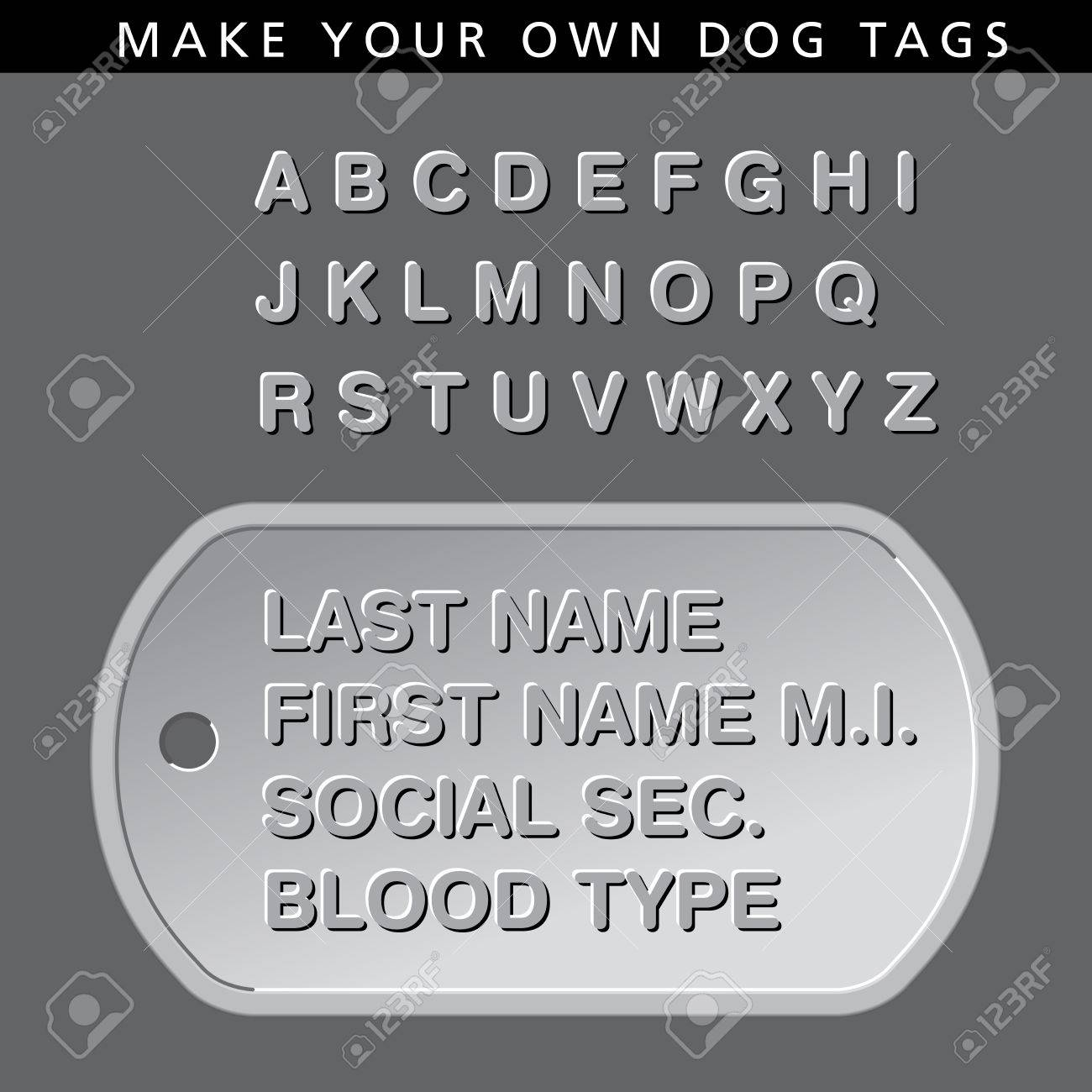 make your own message on this dog tag royalty free cliparts vectors