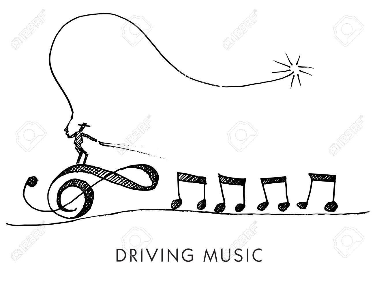 Dessin De Music un dessin animé fantaisiste appelé driving music clip art libres de