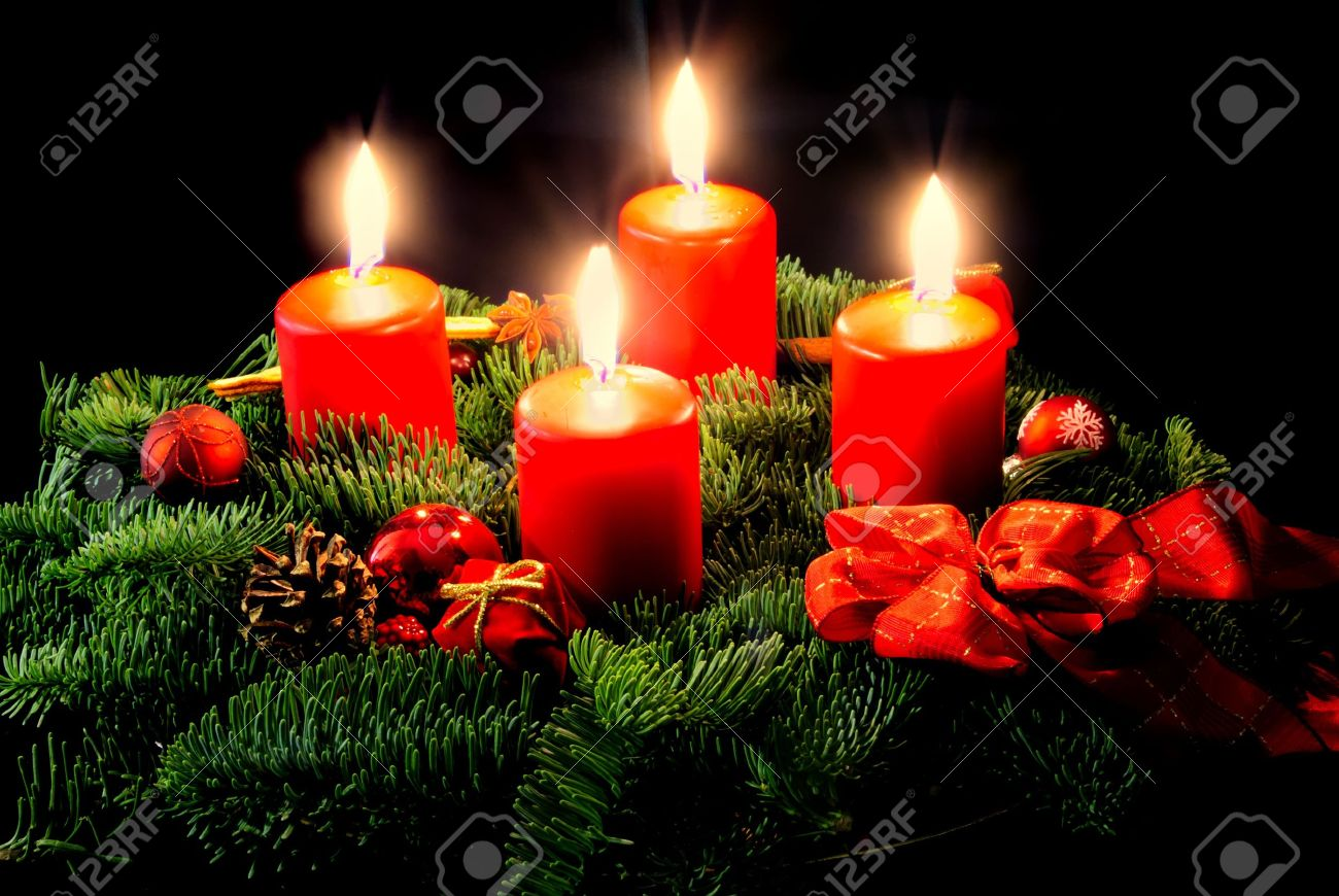 advent wreath with candle and decorations stock photo picture and