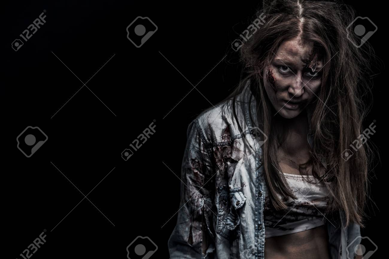 zombie woman, horror background for halloween concept and book