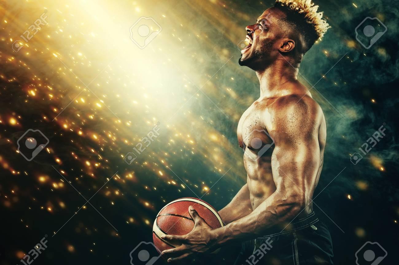basketball wallpaper. portrait of afro-american sportsman
