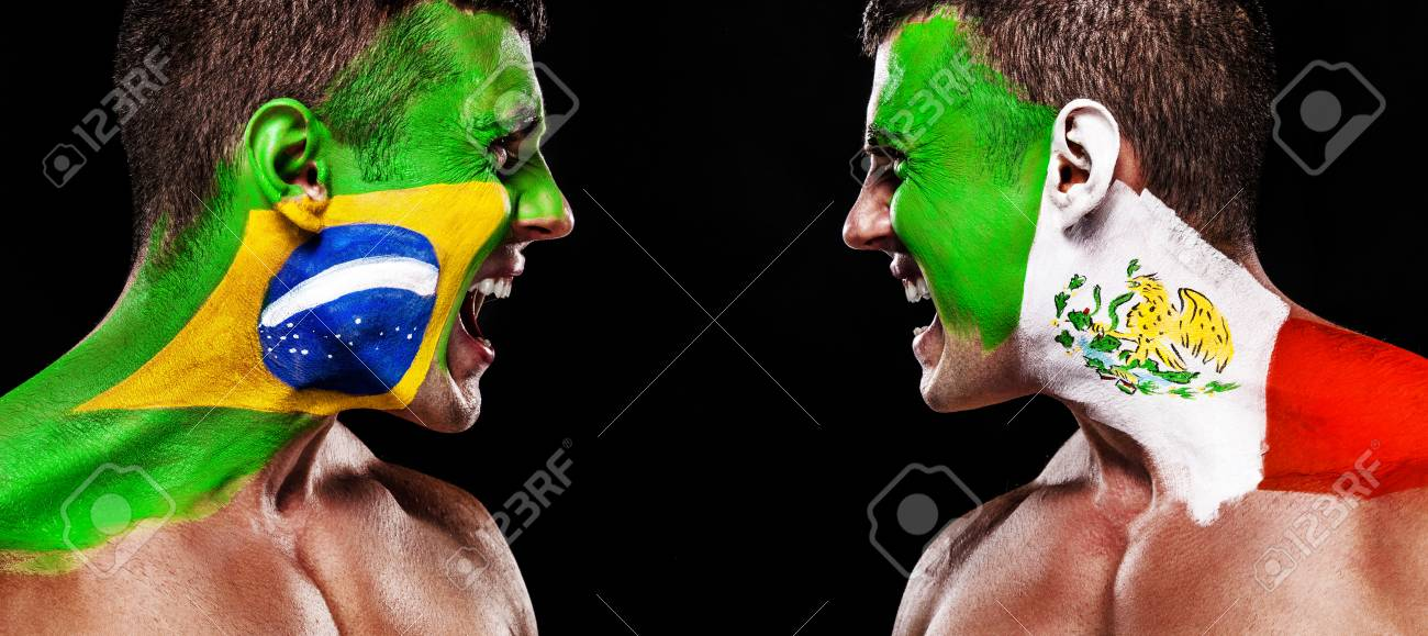 Soccer Or Football Fan With Bodyart On Face With Agression Stock Photo Picture And Royalty Free Image Image 103908795
