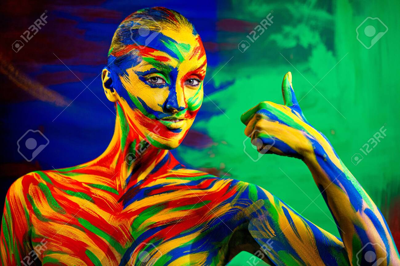 Color Art Face And Body Paint Of Woman For Inspiration Abstract Stock Photo Picture And Royalty Free Image Image 139157794
