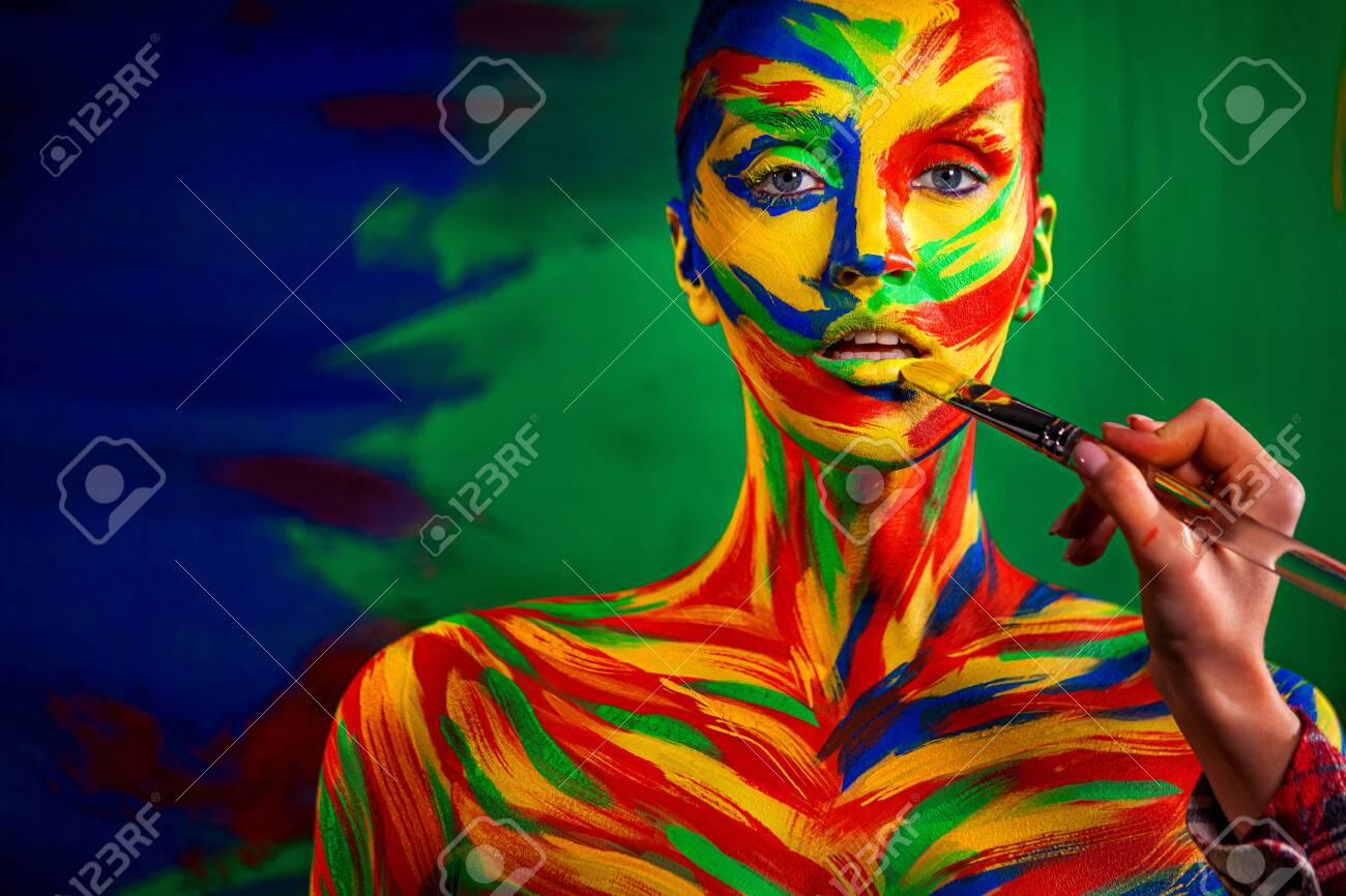 Color Art Face And Body Painting On Woman For Inspiration Abstract Stock Photo Picture And Royalty Free Image Image 139157816
