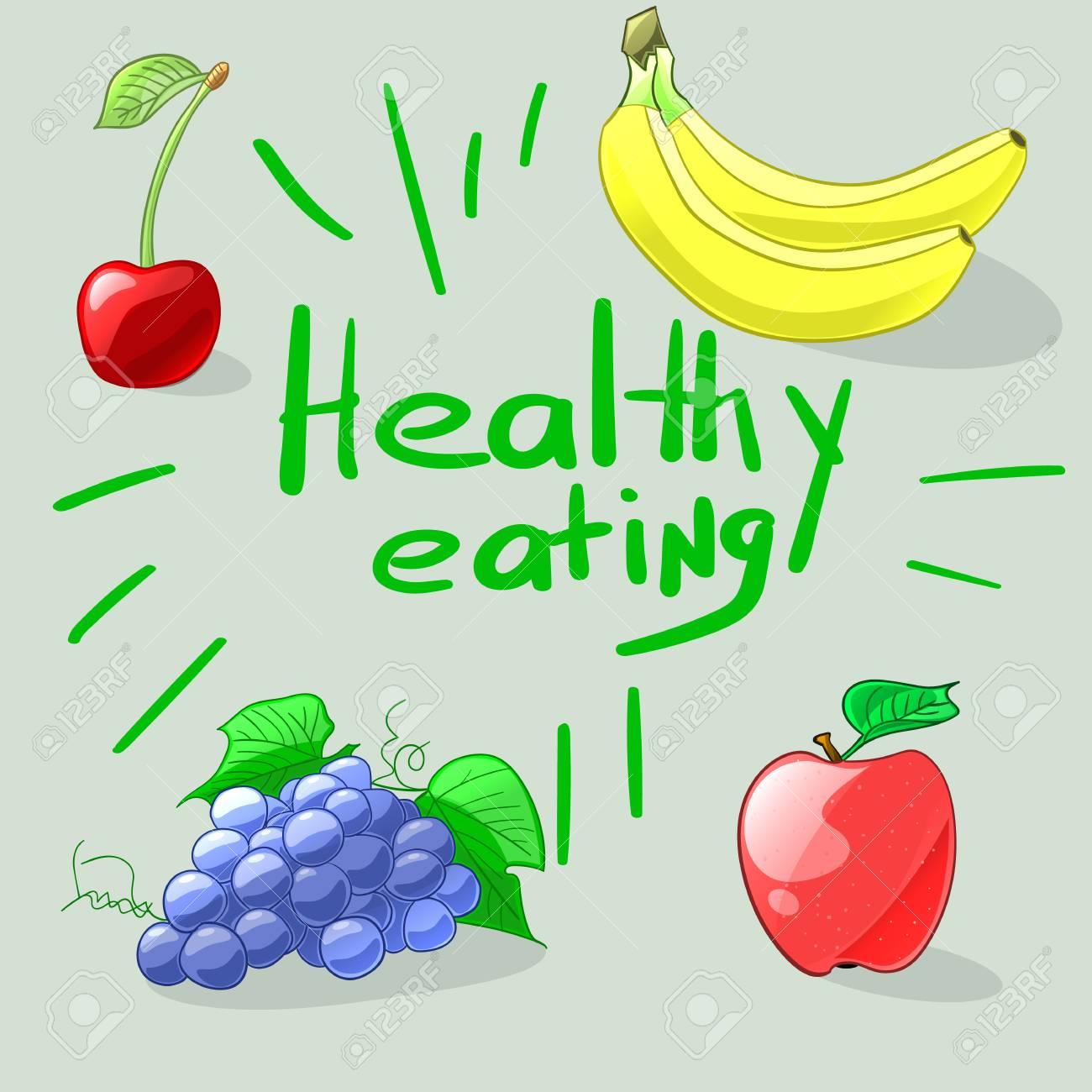 Alimentación Saludable Conjunto De Coloridas Frutas De Dibujos