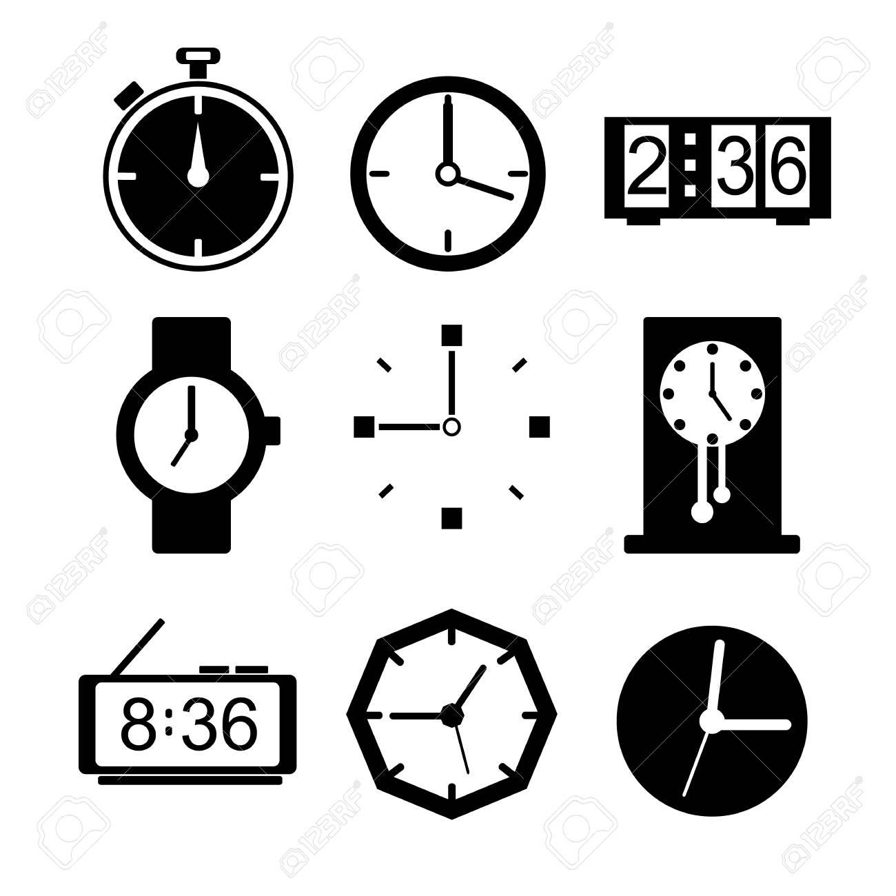 c4ad5d75ce9a Conjunto de iconos de reloj. Diseño plano. Ilustración de vector de silueta  Foto de
