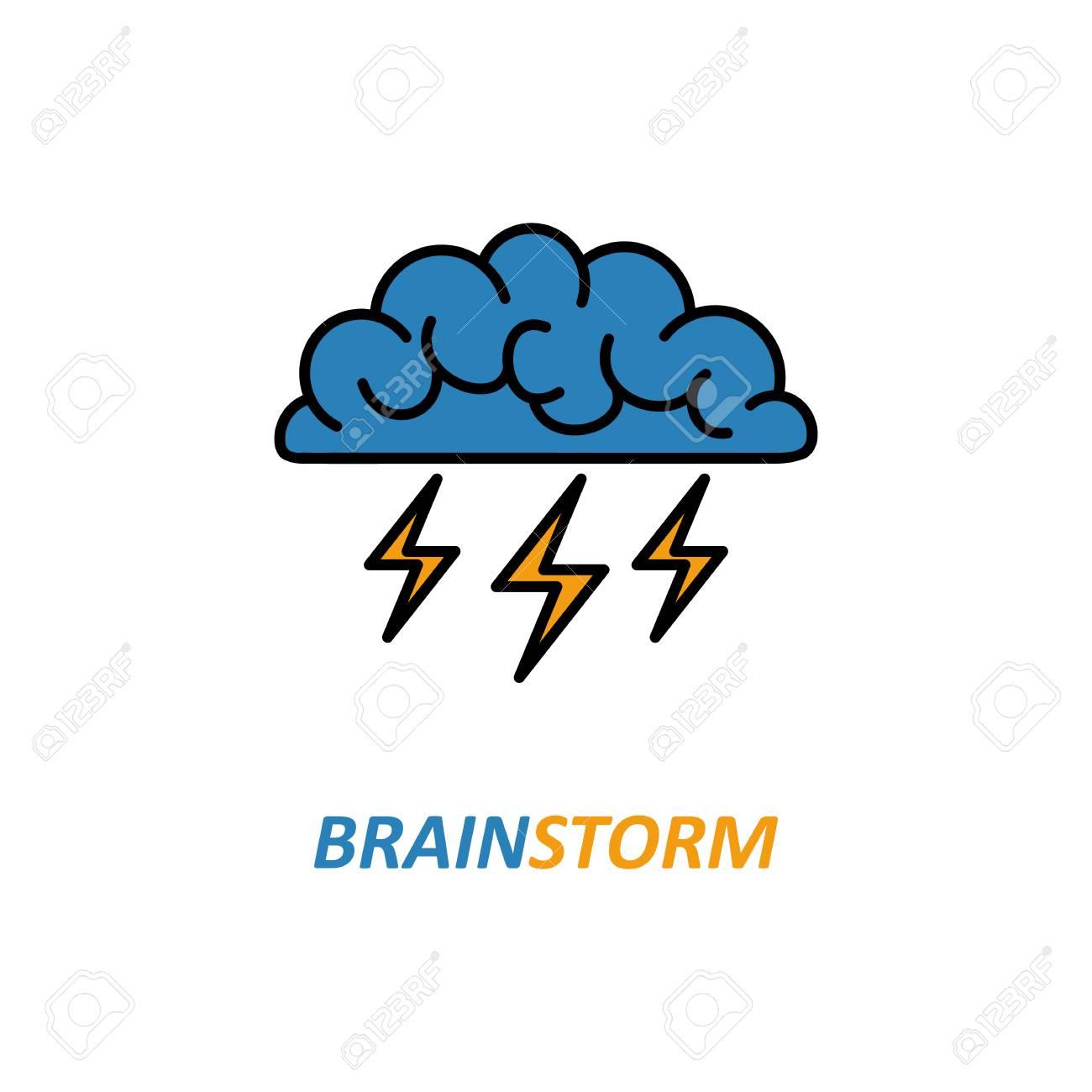 Gehirn, Brainstorming, Idee, Kreativität Logo Und Symbol. Vector ...