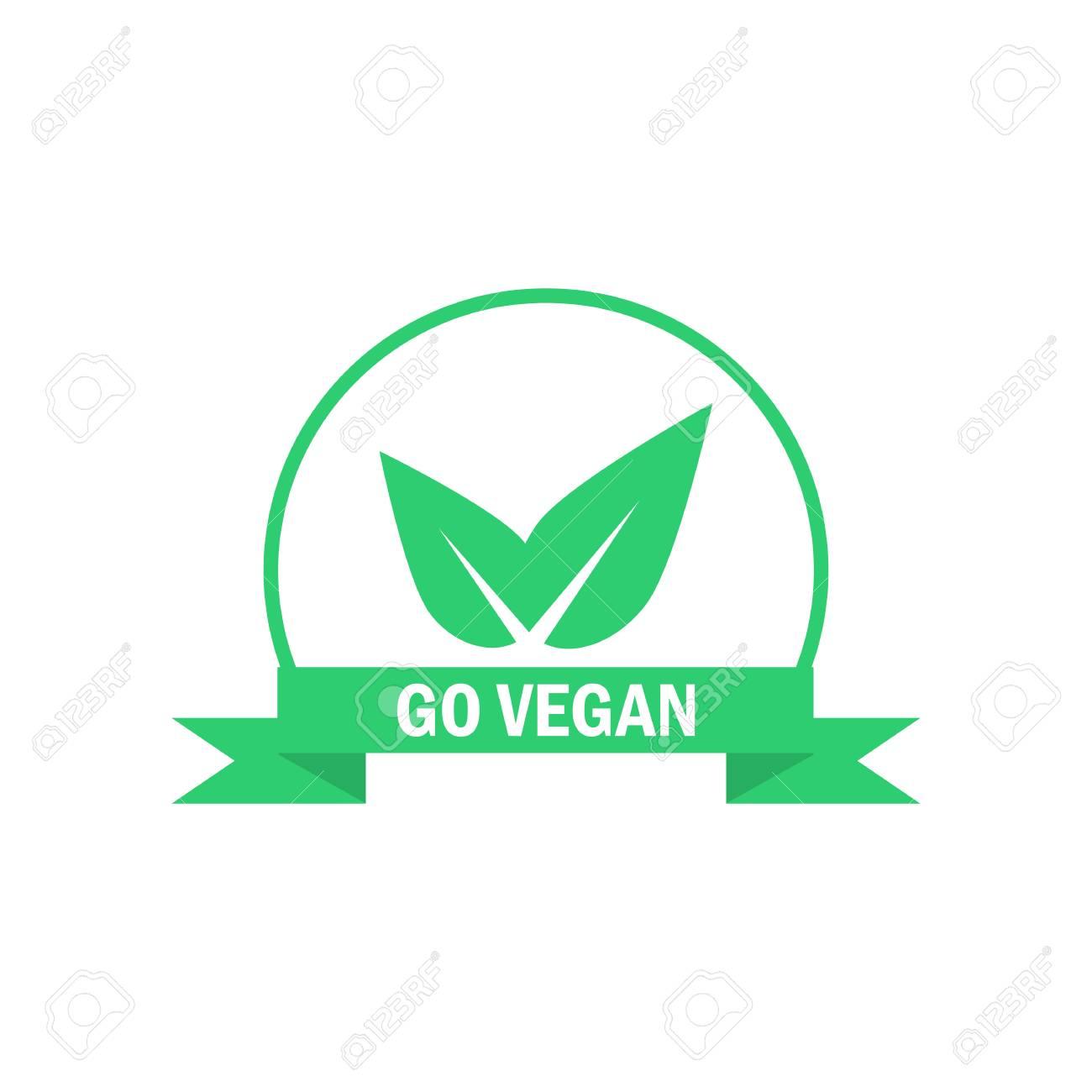 Go vegan label  Green food icon  Suitable for vegetarian sticker
