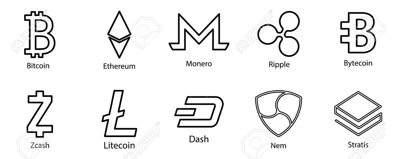 Cryptocurrency Icons Set For Internet Money Symbols For Using