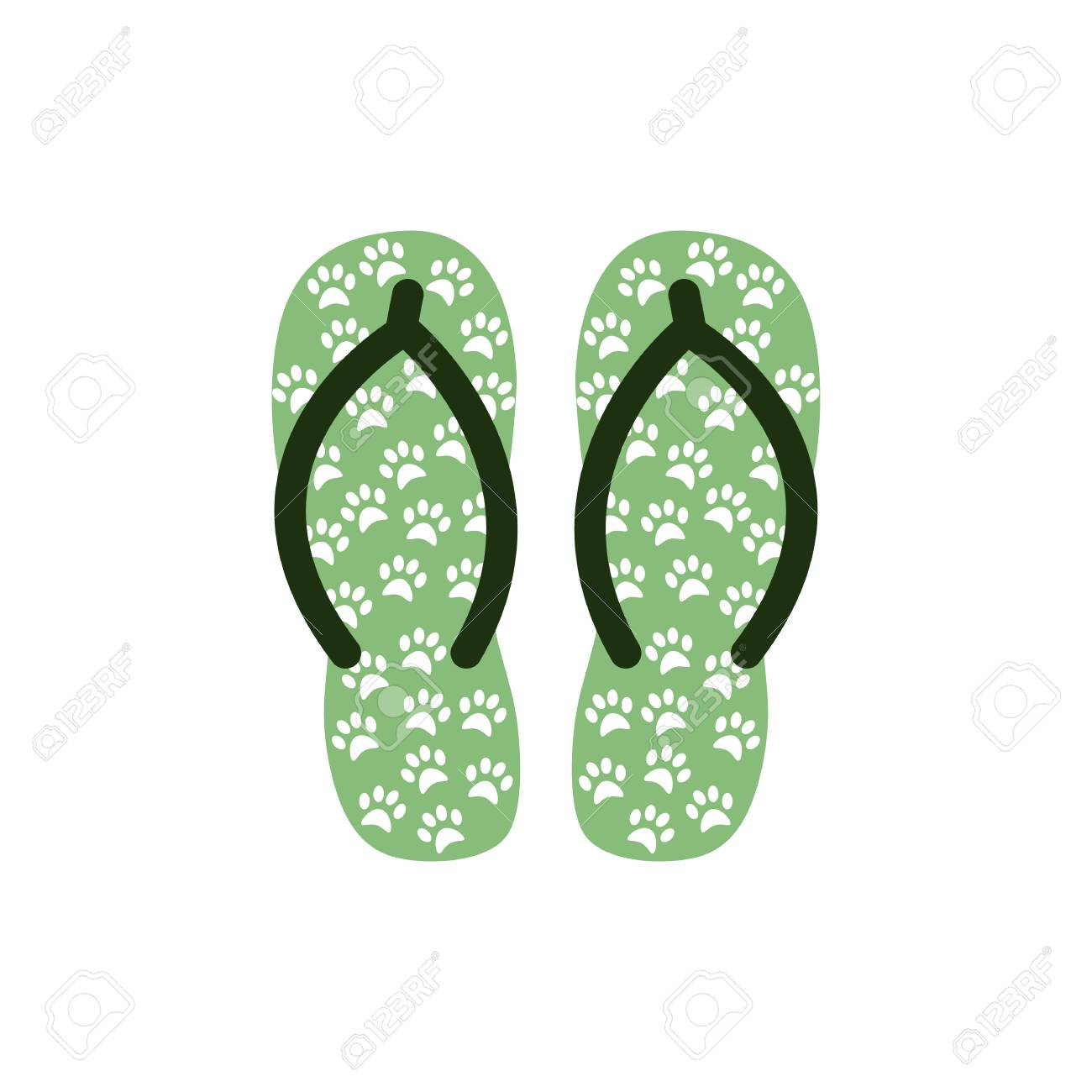 1ff46671fe34a9 Pair of Colorful flip flops with animal paws .Beach slippers.Vector icon  isolated on