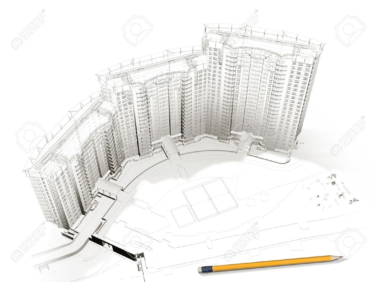 Architecture Building Drawing building sketch stock photos. royalty free building sketch images
