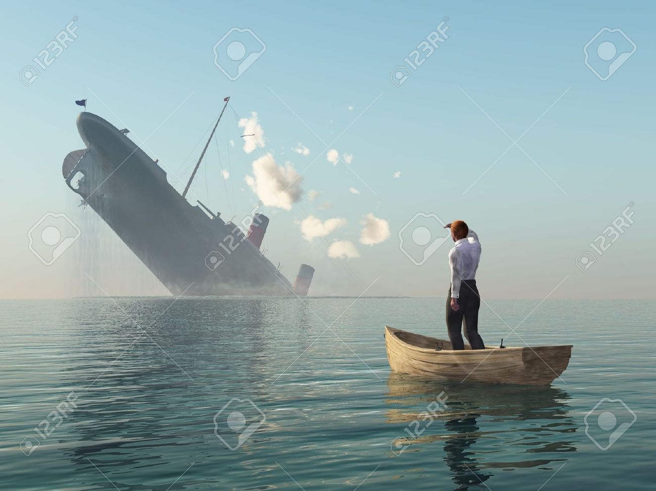 rescued man in boat looking on shipwreck Stock Photo - 10628110