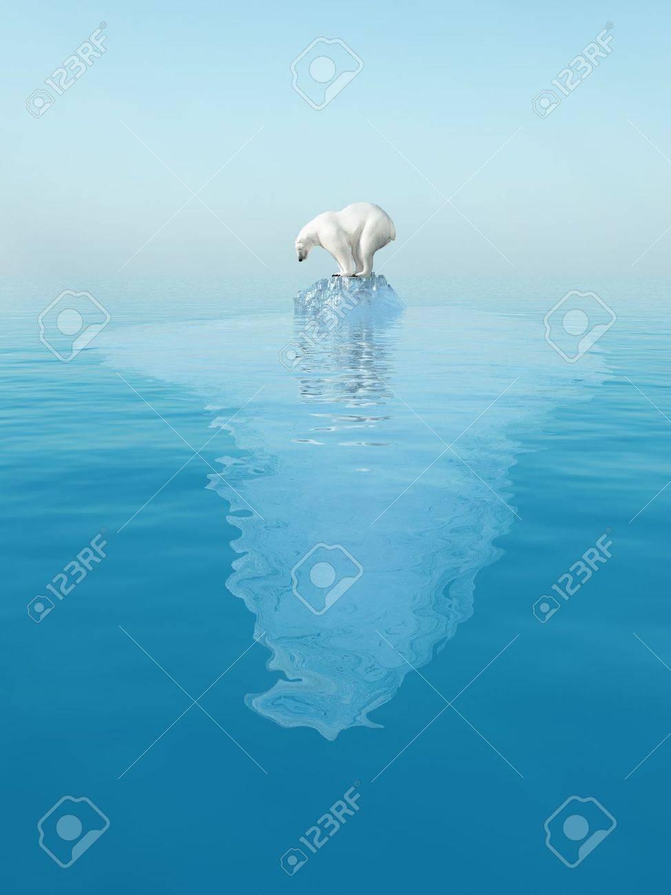 last polar bear on iceberg - 11545349
