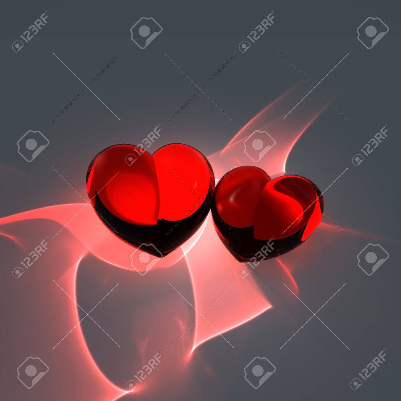 two red hot hearts Stock Photo - 11936792