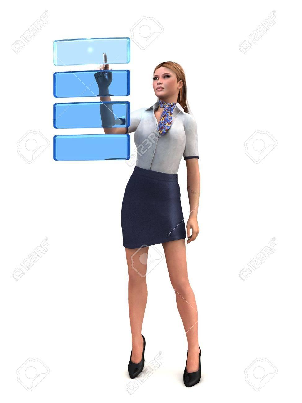 woman chooses a virtual menu Stock Photo - 13697246