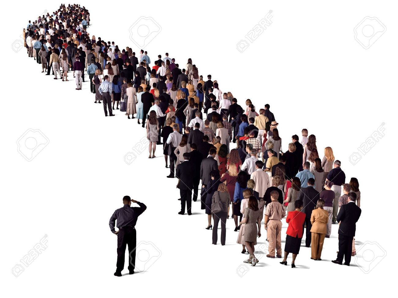 group of people waiting in line, back view Stock Photo - 14931729