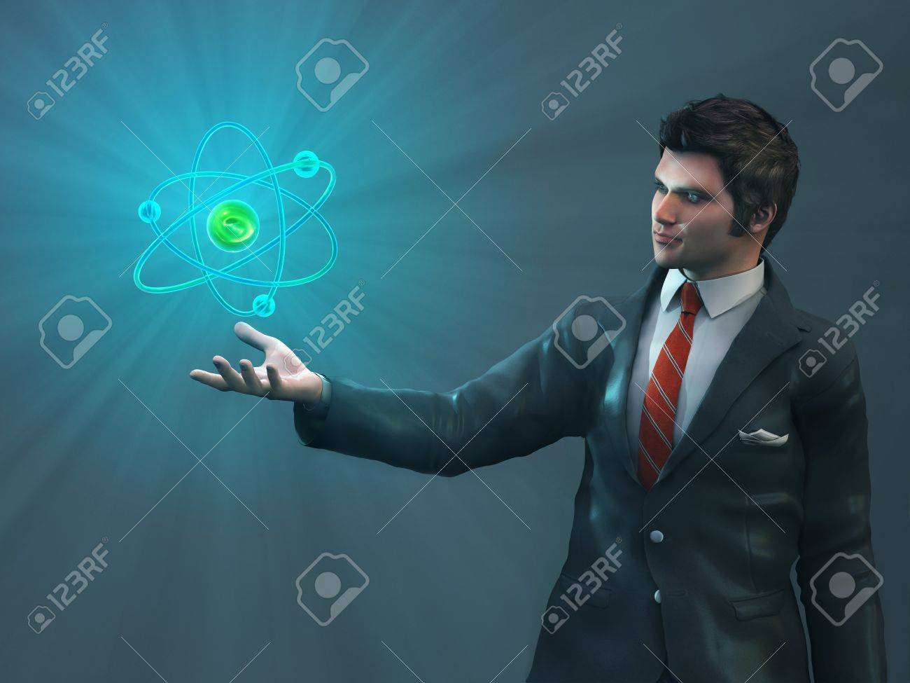 man holding glowing atom Stock Photo - 15623785