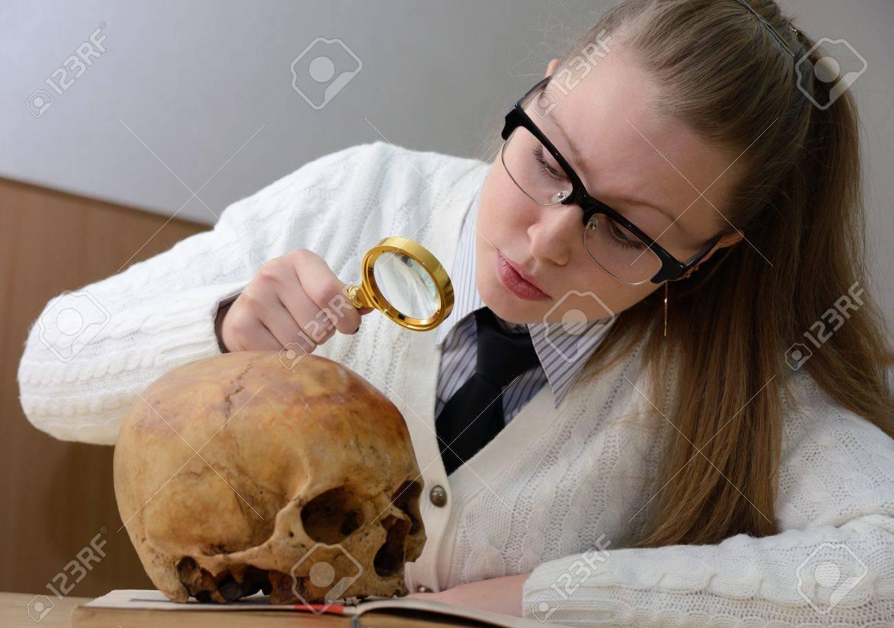 Woman examining a human skull Stock Photo - 16401557