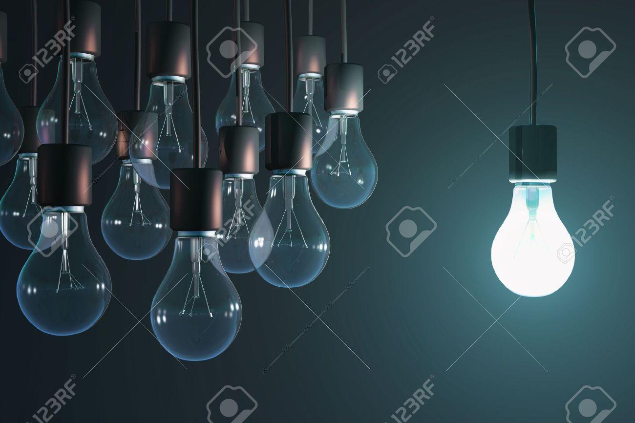 glowing bulb among the gray Stock Photo - 18503094