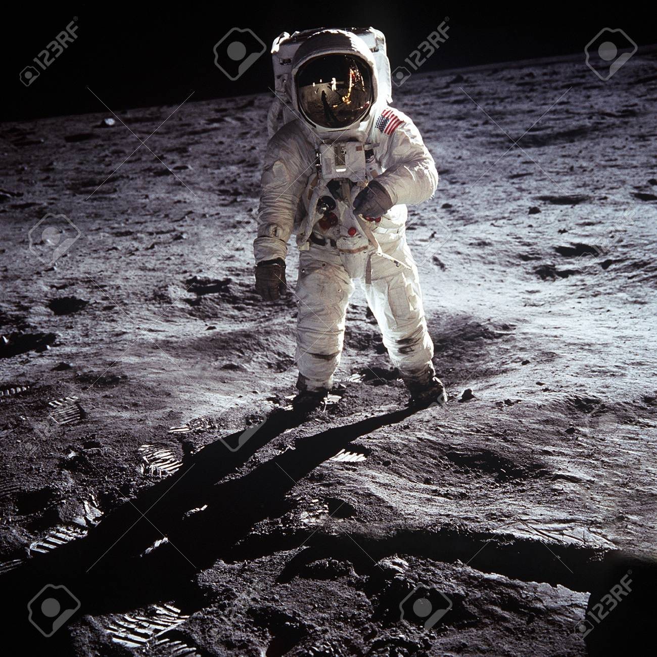 the first man on the moon. Cosmonaut. The photo taken from NASA - 106385302