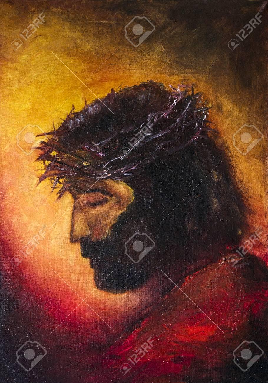 Jesus Christ Icon Original Oil Painting On Canvas Stock Photo